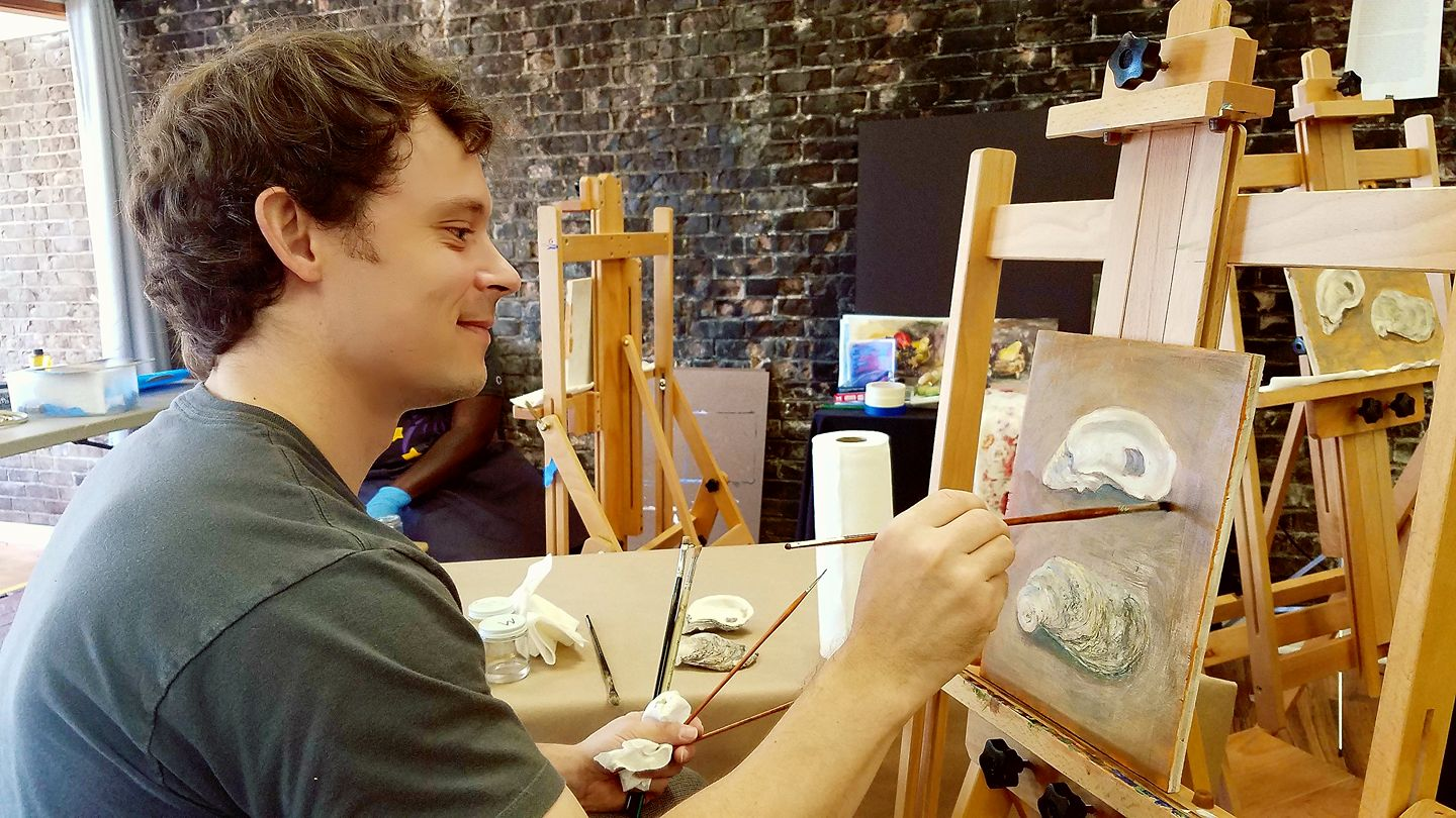 Basics of oil painting class with jeromy young starting for Canvas painting classes